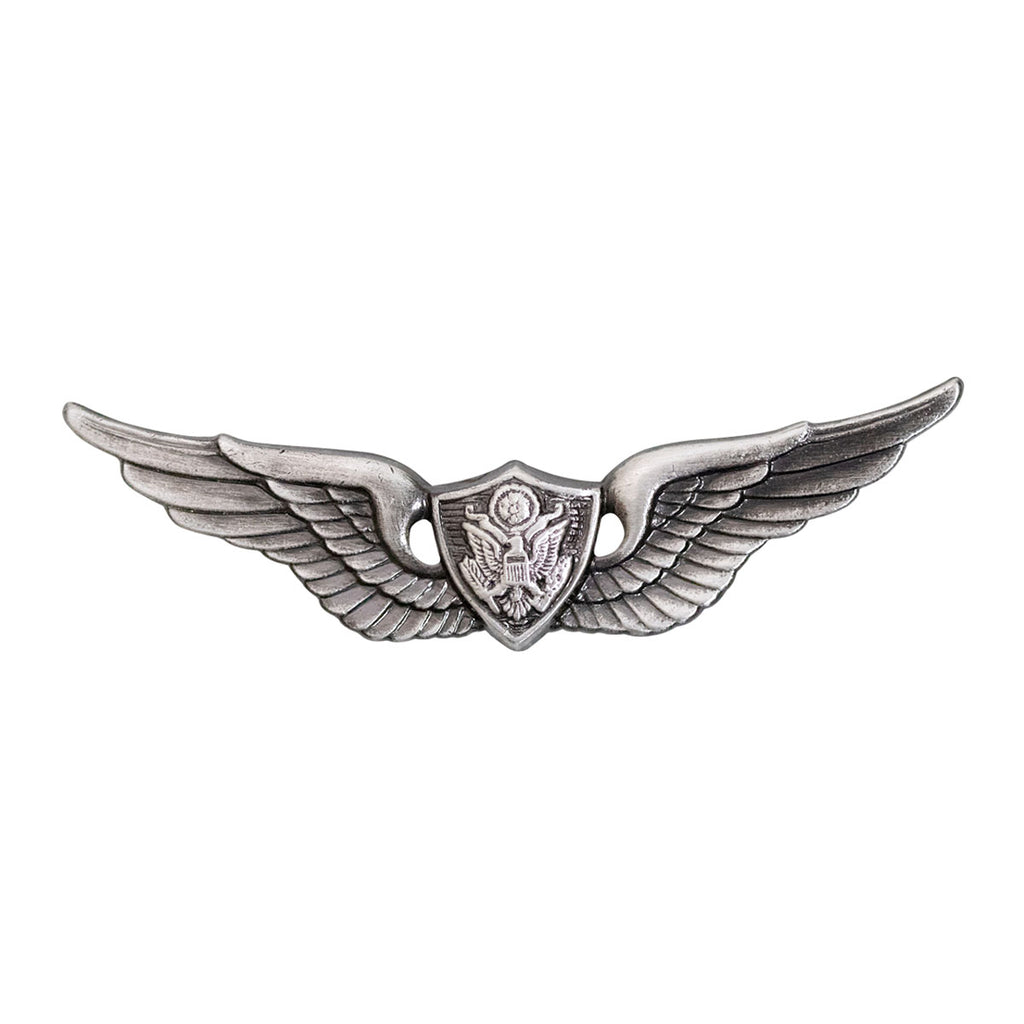 Army Badge: Aircrew - regulation size, silver oxidized