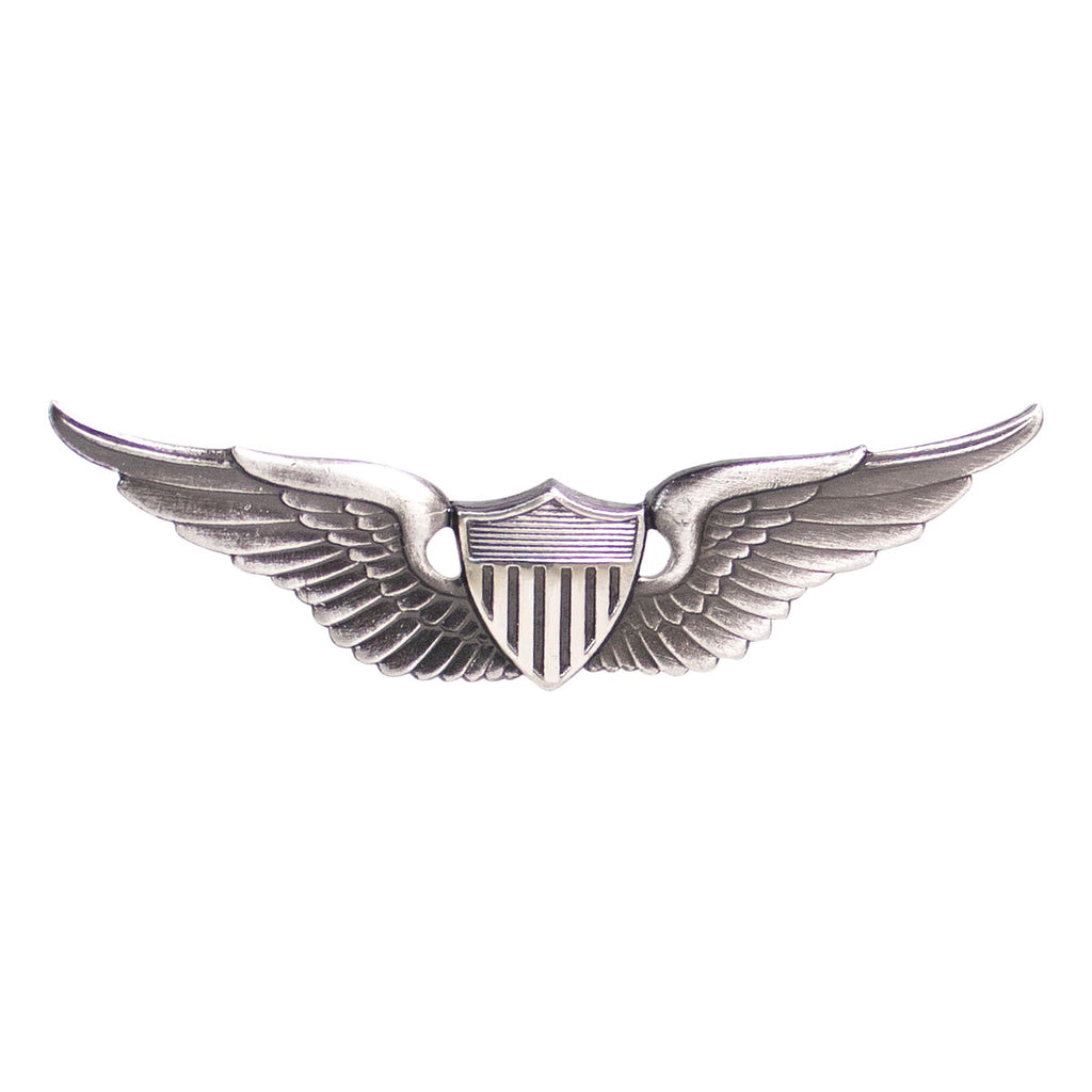 Army Badge: Aviator - regulation size, silver oxidized
