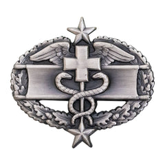Army Badge: Combat Medical Third Award - silver oxidized