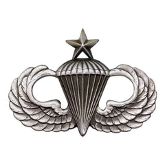Army Badge: Senior Parachute - regulation size, silver oxidized