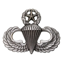 Army Badge: Master Parachute - regulation size, silver oxidized