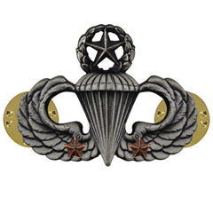 Army Badge: Master Combat Parachute Second Award - silver oxidized