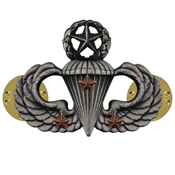 Army Badge: Master Combat Parachute Third Award - silver oxidized