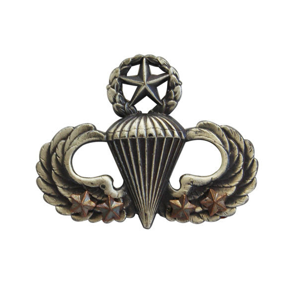 Army Badge: Master Combat Parachute Fourth Award - silver oxidized