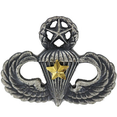 Army Badge: Master Combat Parachute Fifth Award - silver oxidized