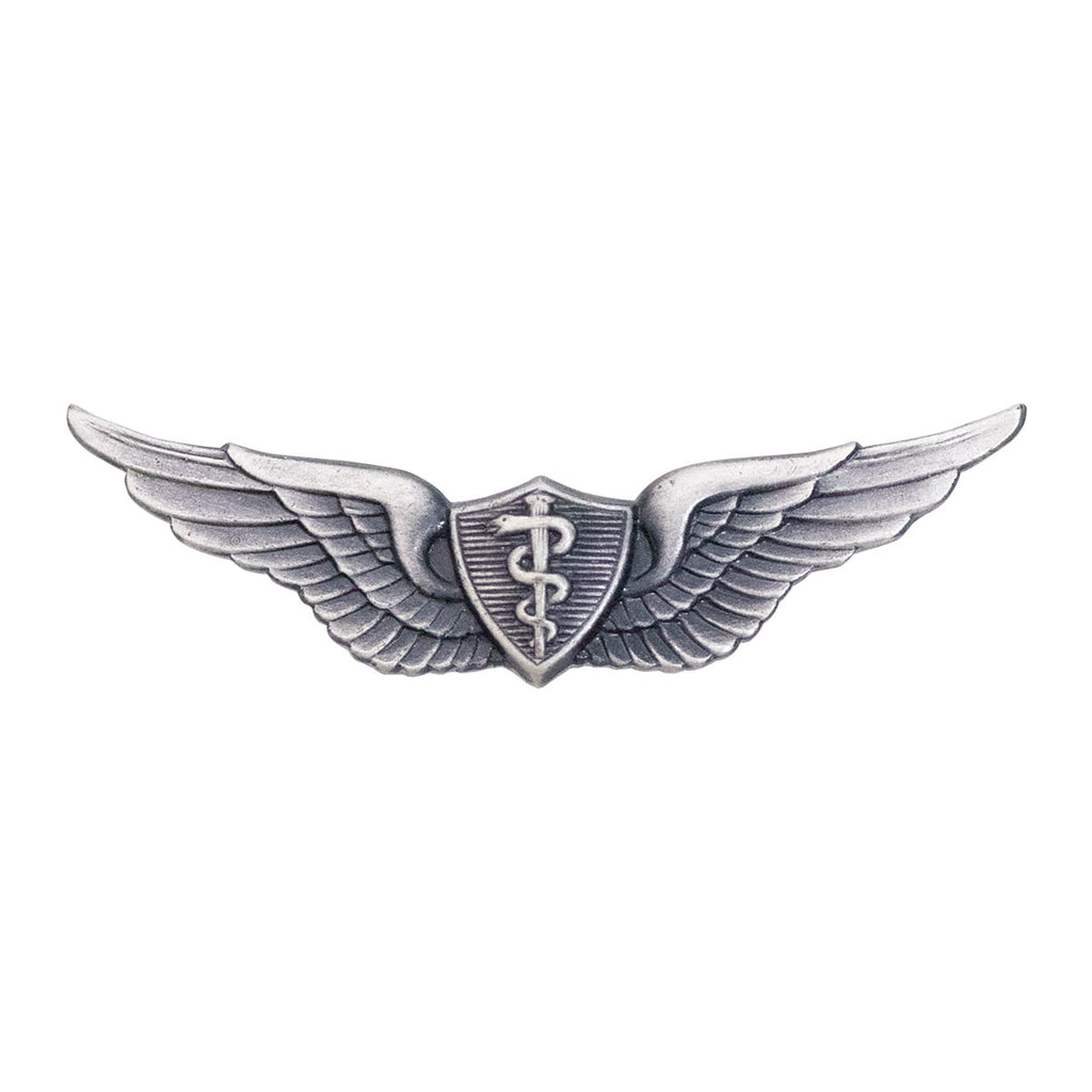 Army Dress Badge: Flight Surgeon - miniature, silver oxidized