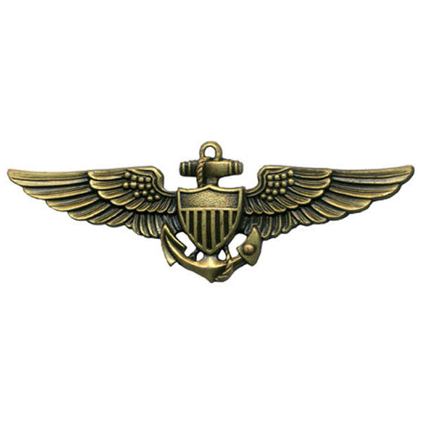 Navy Badge: Aviator - regulation size, antique gold