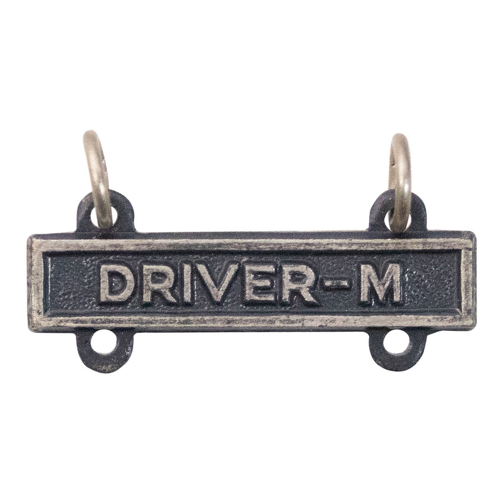 Army Qualification Bar: Driver M - silver oxidized finish