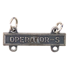 Army Qualification Bar: Operator S - silver oxidized finish