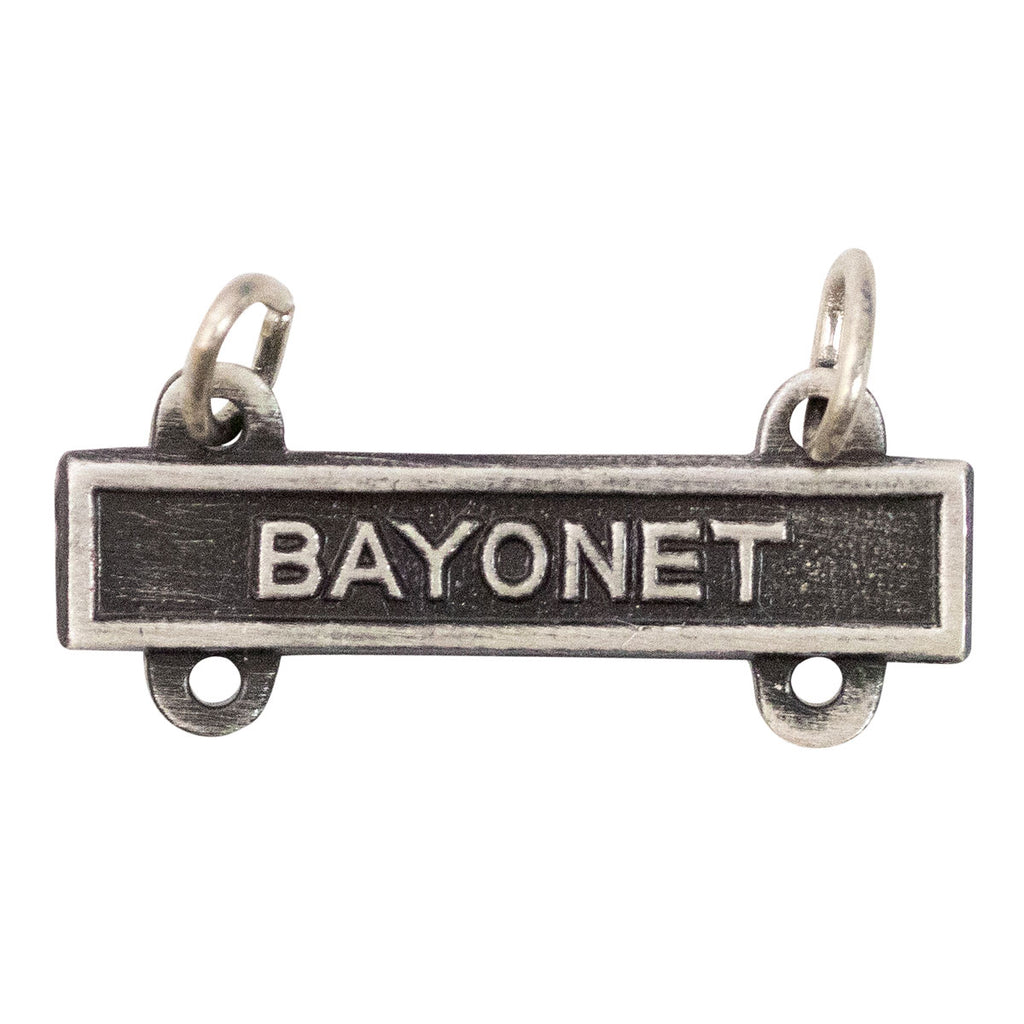 Army Qualification Bar: Bayonet - silver oxidized finish