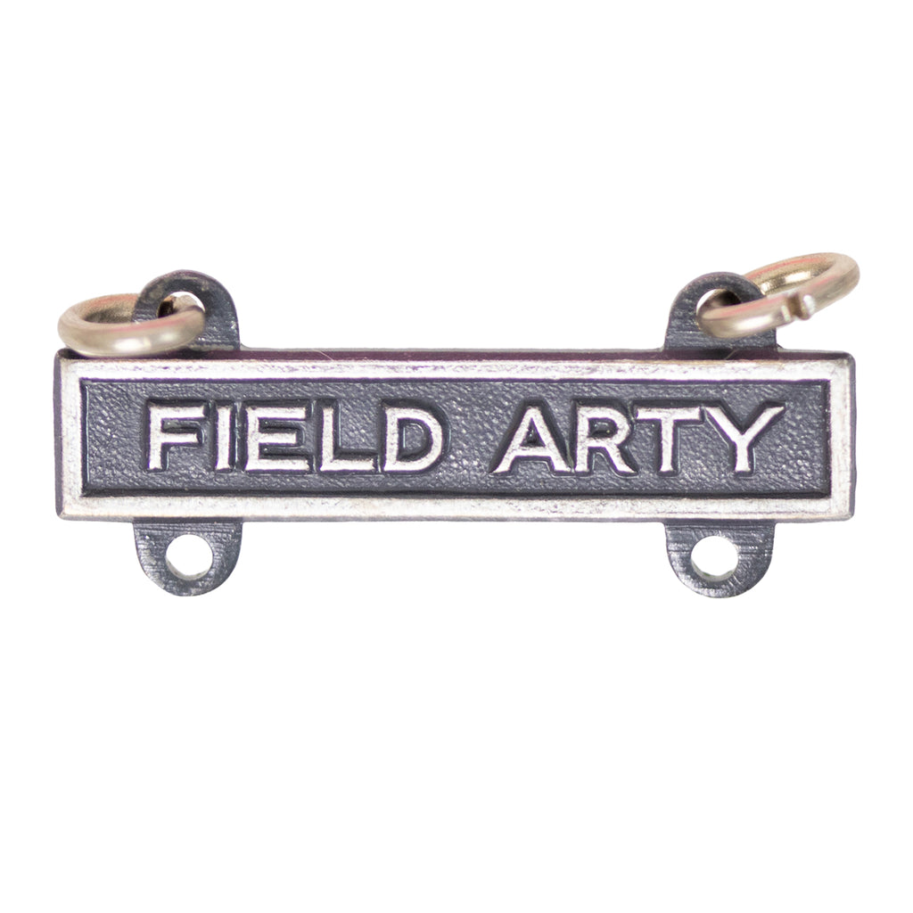 Army Qualification Bar: Field Artillery - silver oxidized finish