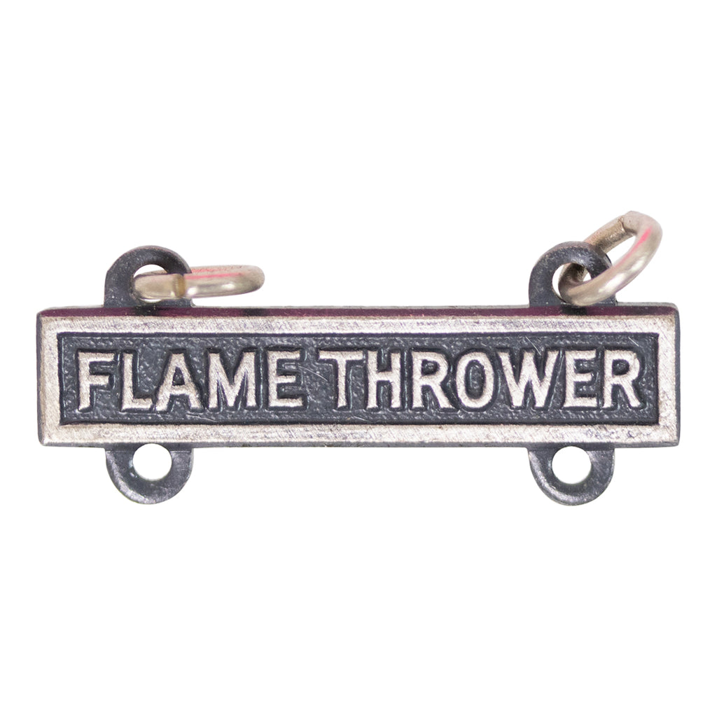 Army Qualification Bar: Flame Thrower - silver oxidized finish