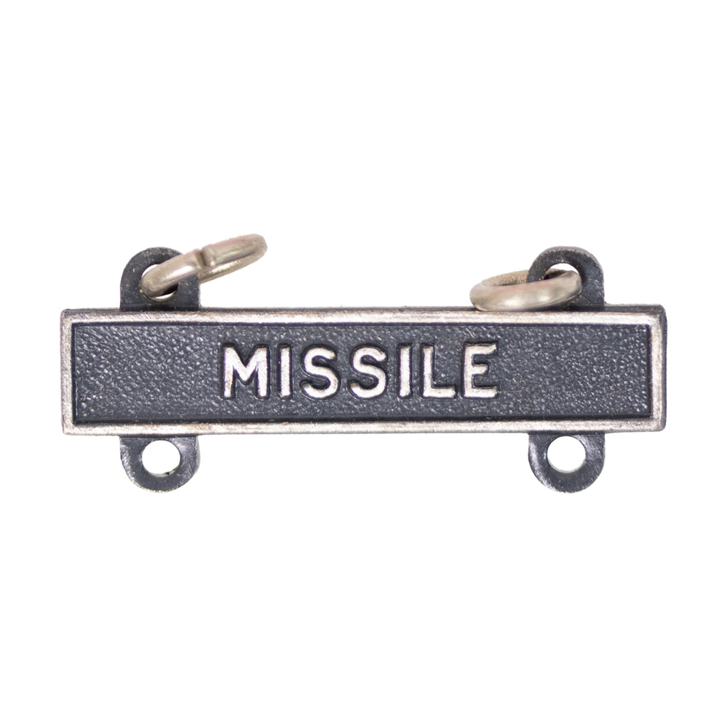 Army Qualification Bar: Missile - silver oxidized finish