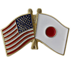 Lapel Pin: Crossed Flags - United States and Japan