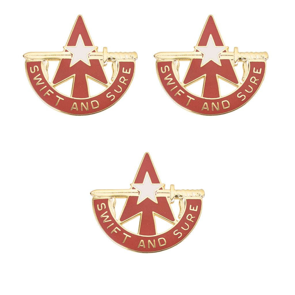 Army Crest: 32nd Air Defense Artillery, set of 3 - SWIFT SURE