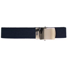 Air Force Belt: Blue Cotton with Mirror Buckle and Tip - male