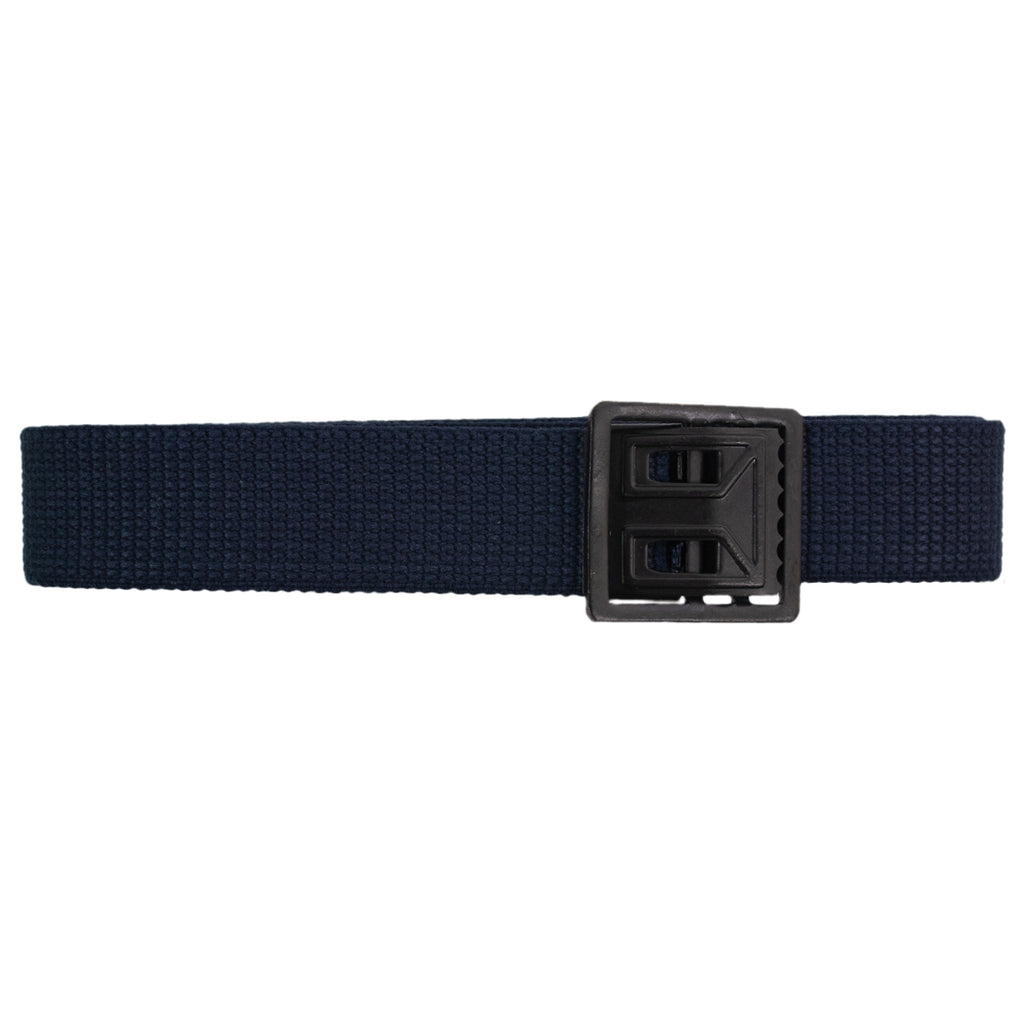 Air Force Belt: Blue Cotton with Black Open Face Buckle and Tip