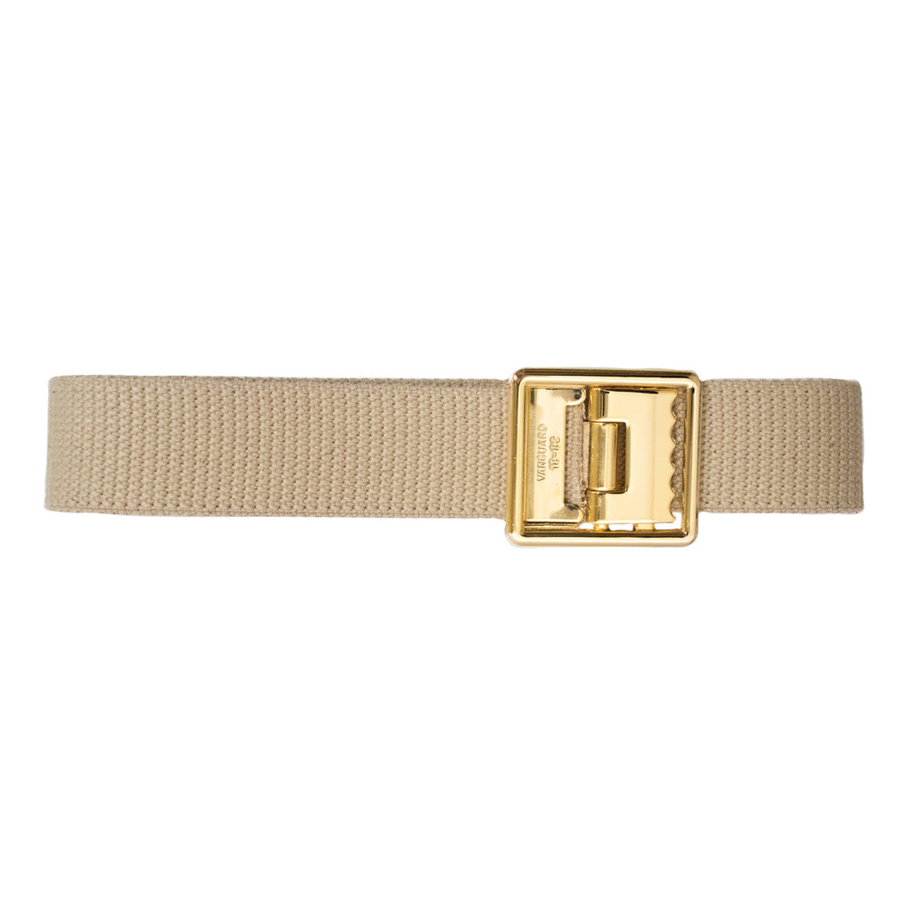 Marine Corps Belt: Khaki Cotton with Open Face 24K Gold Plated Buckle and Tip
