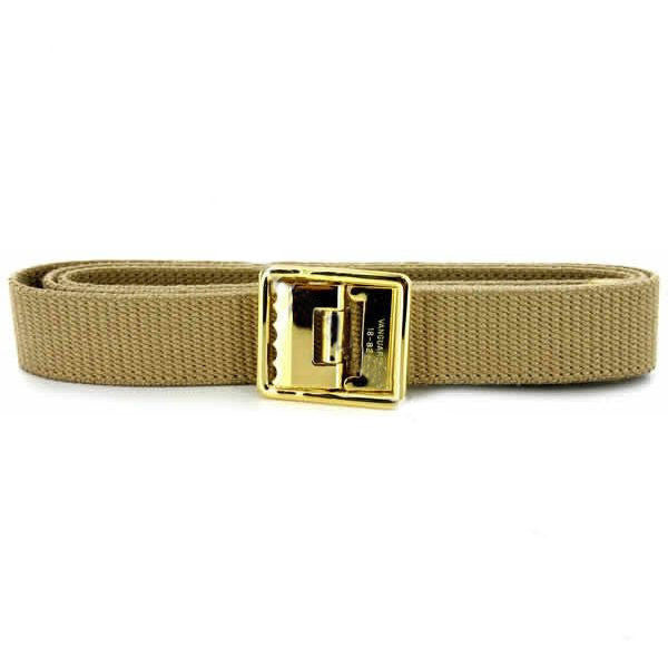 USMC Belt and Buckle: Khaki Cotton 24k Gold Plated Open Face Buckle Tip - male XL