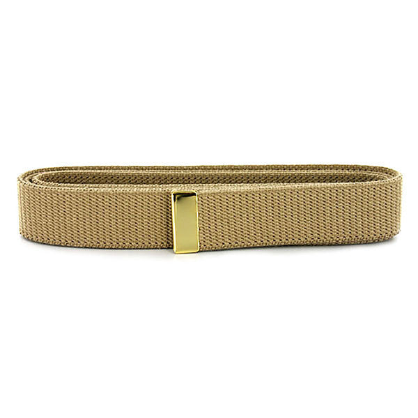 Navy Belt: Khaki Cotton with Brass Tip - male