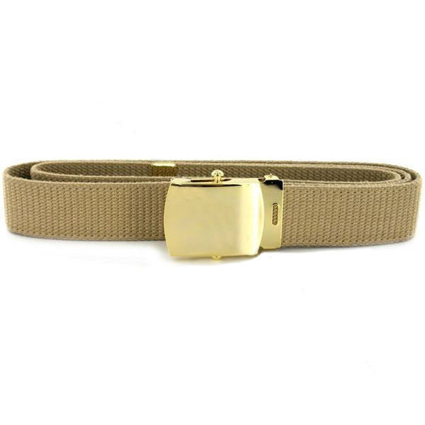 Navy Belt and Buckle: Khaki Cotton with Brass Buckle and Tip - male