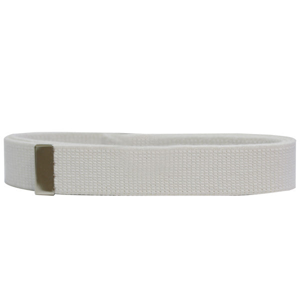 Coast Guard Auxiliary Belt: Cotton Web with Silver Mirror Tip - white