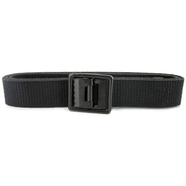 Belt and Buckle: Black Cotton Seabee Black Buckle and Tip - male