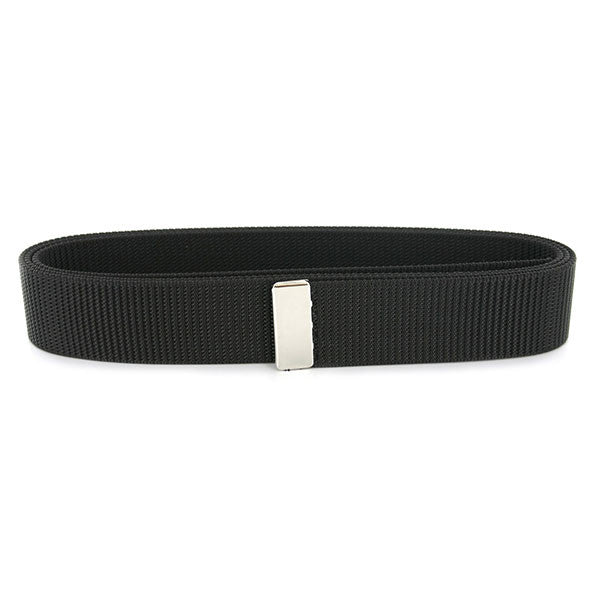 Navy Belt: Black Nylon with Silver Mirror Tip - male