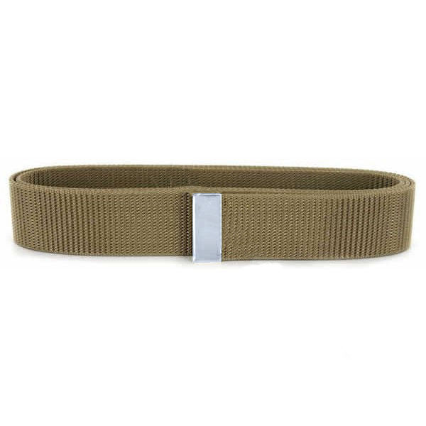 Navy Belt: Khaki Nylon with Silver Tip - male