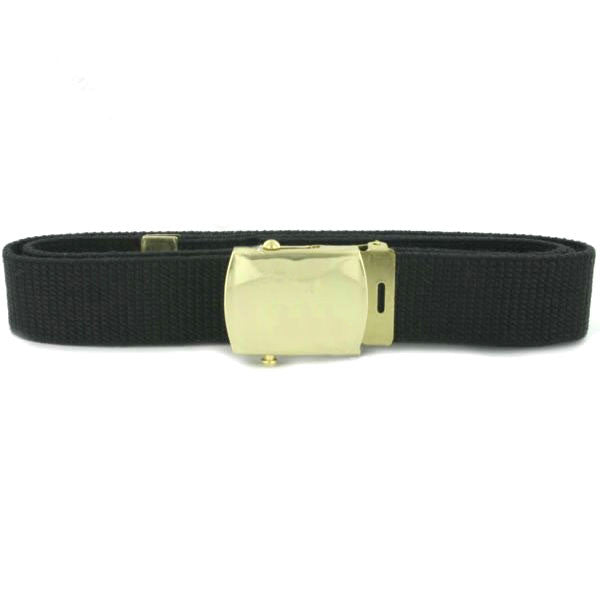 Navy Belt and Buckle: Black Cotton with Brass Buckle and Tip - male