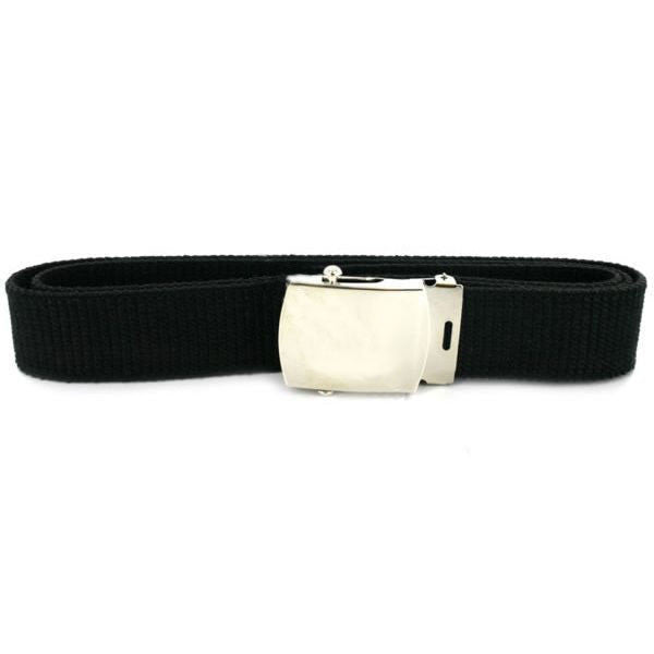 Navy Belt and Buckle: Black Cotton Silver Mirror Buckle and Tip - male