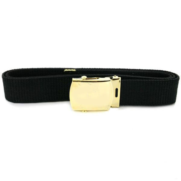 Belt and Buckle: Black Cotton with 24k Gold Buckle and Tip - male