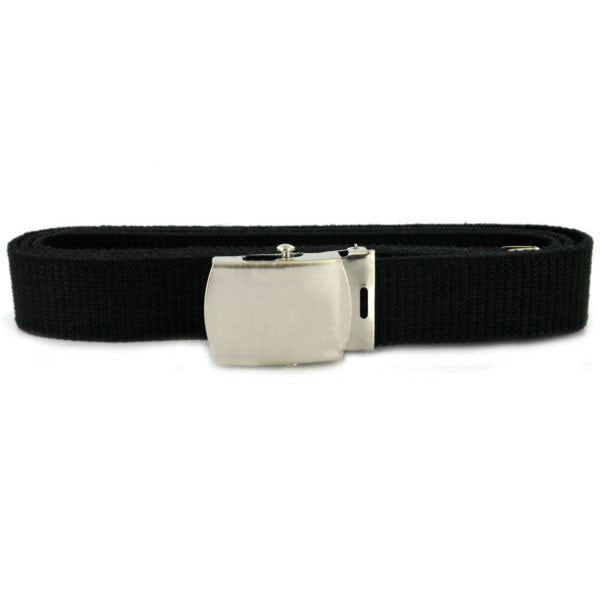 Belt and Buckle: Black Cotton Nickel Silver Buckle and Tip - male