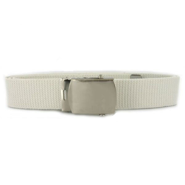 Navy Belt and Buckle: White Cotton Nickel Silver Buckle and Tip - male