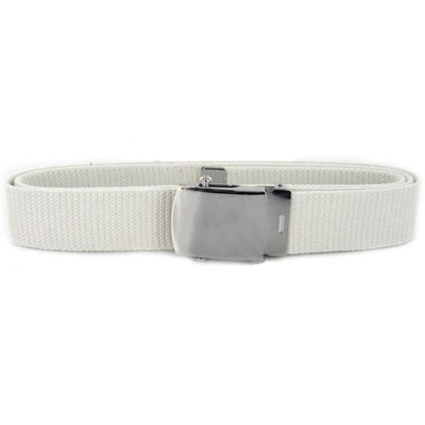 Navy Belt and Buckle: White Cotton Silver Mirror Buckle and Tip - male