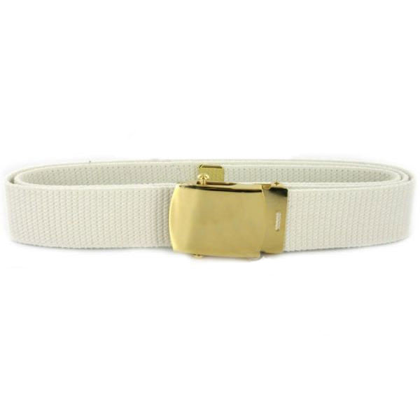 Navy Belt and Buckle: White Cotton with 24k Gold Buckle and Tip - male