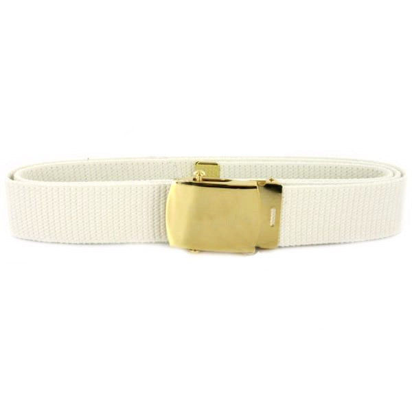 Navy Belt and Buckle: White Cotton with Brass Buckle and Tip - male