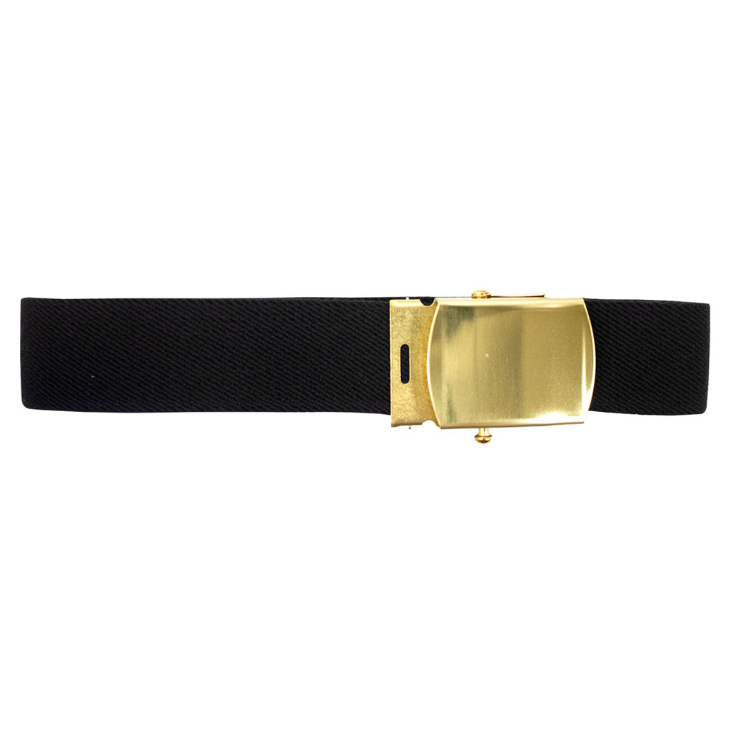 Army Belt: Black Elastic with Brass Buckle and Tip Male