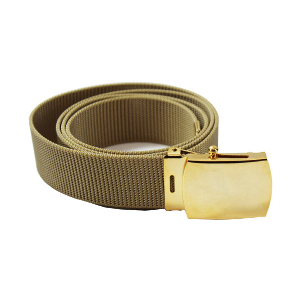 Navy Belt and Buckle: Khaki Nylon with 24k Buckle and Tip - male