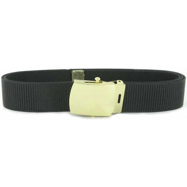 Belt and Buckle: Black Nylon with Brass Buckle and Tip - male