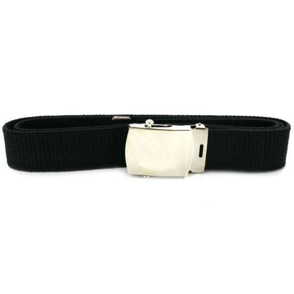 Navy Belt and Buckle: Black Nylon Silver Mirror Buckle and Tip - male
