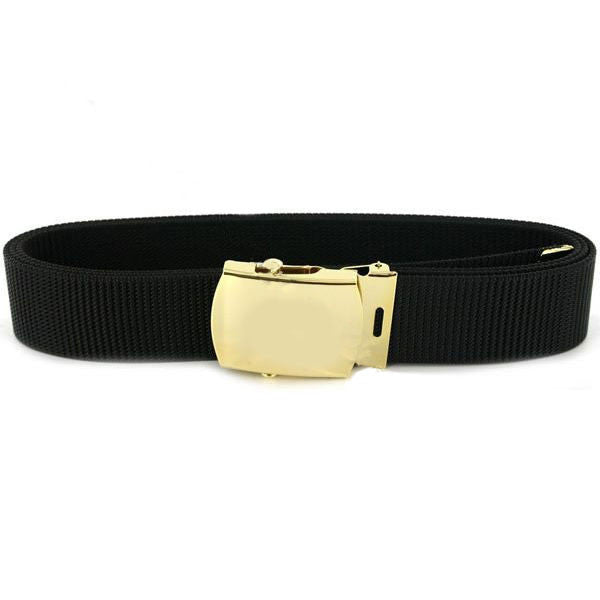 Navy Belt and Buckle: Black Nylon with 24k Gold Buckle and Tip - male