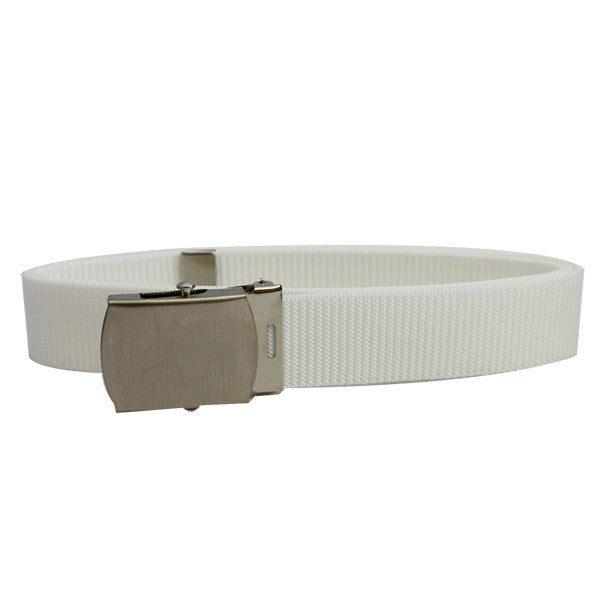 Coast Guard Auxiliary Belt: White Nylon Belt with Satin Silver Buckle and Tip