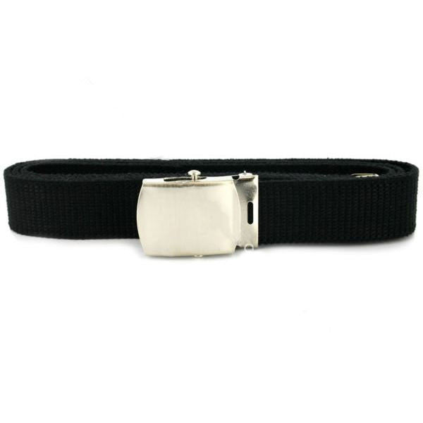 Navy Belt and Buckle: Black Nylon Nickel Silver Buckle and Tip - male