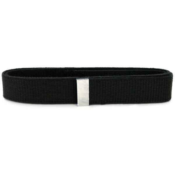 Belt: Black Cotton with Silver Mirror tip - male