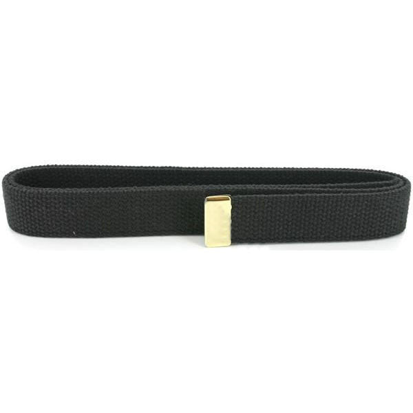 Navy Belt: Black Cotton with 24K Gold Tip - female