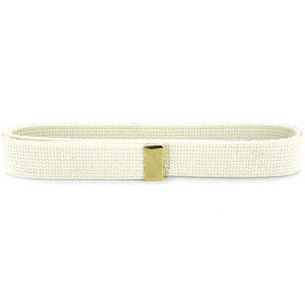 Navy Belt: White Cotton with Brass Tip - male