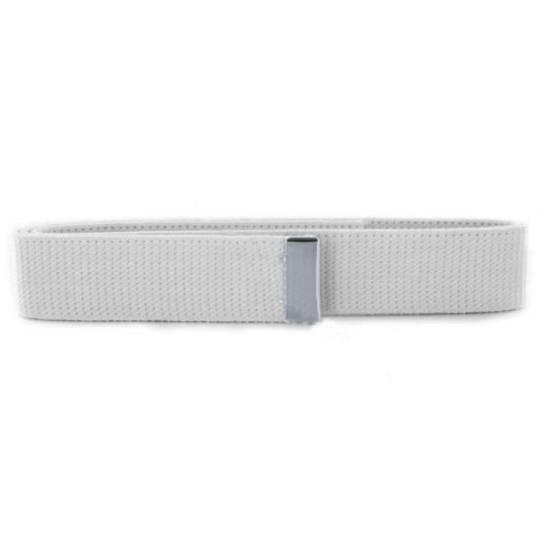 Navy Belt: White Cotton with Silver Mirror Tip - female