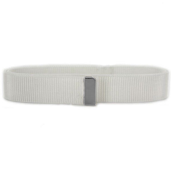 Navy Belt: White Nylon with Silver Mirror Tip - female