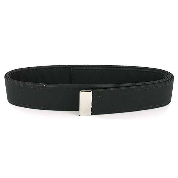 Navy Belt: Black Poly-Wool with Silver Mirror Tip - female
